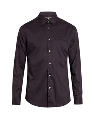 John Varvatos Crosshatch Print Cotton Shirt Purple Multi