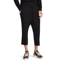 Rick Owens Astaires Wool Blend Crop Trousers Black