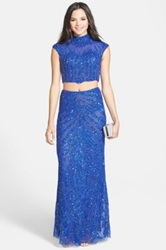 Bp Two Piece Sequin Mandarin Collar Gown Juniors Blue