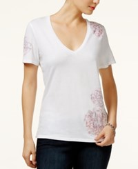 Guess Vivien Floral Embroidered T Shirt White