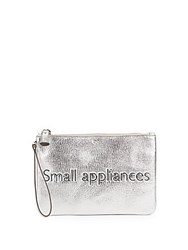 Anya Hindmarch Top Zip Leather Pouch Silver