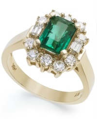 Macy's 14K Gold Ring Emerald 1 5 8 Ct. T.W. And Diamond 3 4 Ct. T.W. Ring