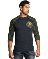 Affliction Lone Wolf Three Quarter Sleeve Raglan Tee Black