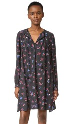 Hatch Embroidered Dress Floral Print With Black
