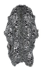 Andrew Gn Embroidered Cape Coat Black White