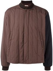 Marni Colour Block Bomber Jacket Brown