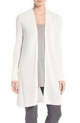Eileen Fisher Women's Sleek Ribbed Tencel Long Cardigan White