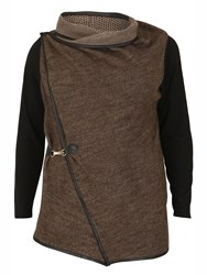 Samya Plus Size Asymmetric Fit Cardigan Brown
