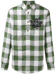 Mr And Mrs Italy Plaid Shirt Men Linen Flax 46 Green