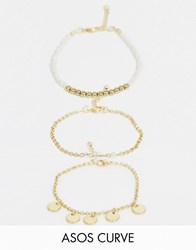 Asos Design Curve Pack Of 3 Bead And Disc Bracelets In Gold Tone