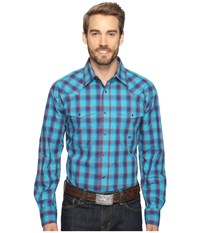 Roper 0556 Ombre Check Snap Green Men's Clothing