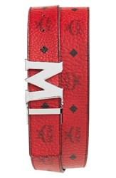 Mcm Men's Reversible Signature Leather Belt Red