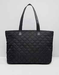 New Look Quilted Nylon Tote Bag Black