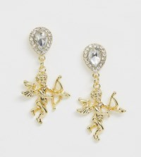 Designb Design B London Gold Cherub Statement Earrings With Diamante Stud