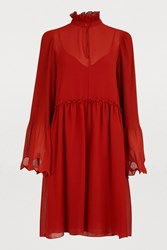 See By Chloe Short Dress With Ruffles Earthy Red