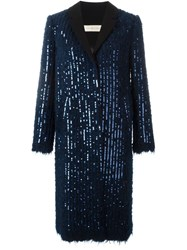 Tory Burch Sequin Embellished Coat Blue