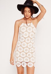 Missguided Strappy Daisy Flower Mini Bodycon Dress White White