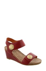 Taos Women's 'Carousel 2' Wedge Sandal Red Leather