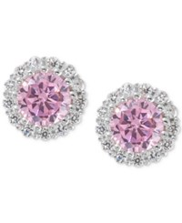 Giani Bernini Sterling Silver Pink Cubic Zirconia Halo Stud Earrings Only At Macy's