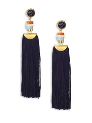 Lizzie Fortunato Indigo Sodalite Tassel Earrings Gold Black