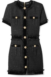 Balmain Velvet Trimmed Frayed Metallic Tweed Mini Dress Black
