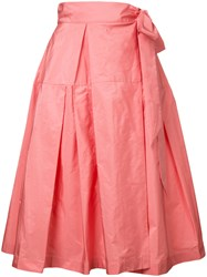 Jil Sander Navy Midi Full Skirt Pink Purple