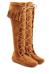 Minnetonka Fringed Suede Knee Boots With Lace Up Front Gr. 9