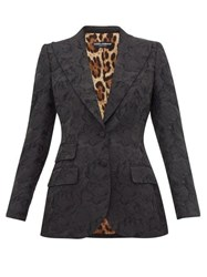 Dolce And Gabbana Single Breasted Rose Jacquard Fitted Blazer Black