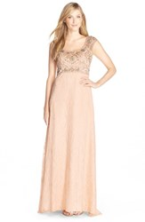 Women's Sue Wong Embroidered Illusion Lace Gown Champagne