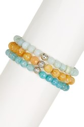 Charlene K Agate Beaded Stretch Bracelet Set Blue