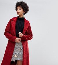 River Island Single Button Teddy Coat In Red