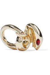 Kenneth Jay Lane Gold Tone Crystal Ring Gold