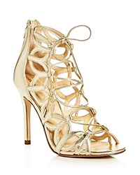 Ivanka Trump Hela Metallic Lace Up High Heel Sandals Gold