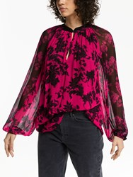 And Or Adele High Neck 80S Floral Blouse Multi Pink