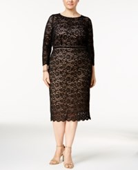Alex Evenings Plus Size Embellished Lace Sheath Dress Black Nude