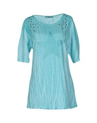 Athletic Vintage Topwear T Shirts Women Turquoise