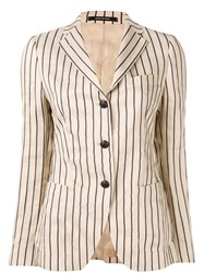 Tagliatore Striped Formal Blazer Brown