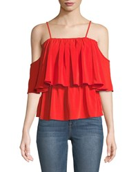 Bishop Young Lilly Tiered Cold Shoulder Blouse