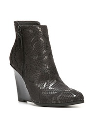 Fergie Aurora Embossed Leather Wedge Ankle Boots Black