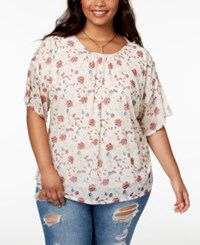 Eyeshadow Trendy Plus Size Floral Print Top Pristine Ascent Rose