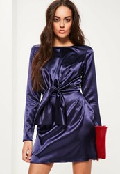 Missguided Purple Silky Tie Front Long Sleeve Shift Dress Navy