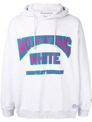 White Mountaineering Logo Print Hoodie Grey
