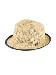 Block Headwear Suede Tipped Open Weave Straw Trilby Natural Black