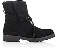 Barneys New York Women's Tasseled Tie Suede Ankle Boots Black