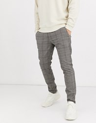 Only And Sons Slim Tapered Fit Check Trousers In Brown