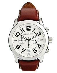 Michael Kors Mercer Oversized Silver Tone Brown Leather Watch Mk8323