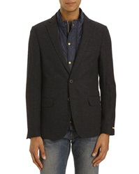 Scotch And Soda Navy Blue Jacket With Removable Wool Lining