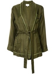 Zeus Dione Belted Wrap Jacket Green