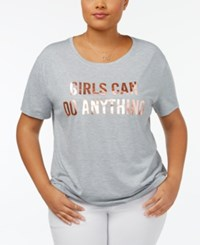 Hybrid Trendy Plus Size Girls Can Graphic T Shirt Grey