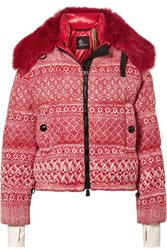Moncler Genius 3 Grenoble Faux Shearling Trimmed Wool Blend Tweed Down Jacket Red